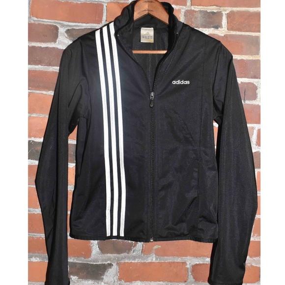adidas Jackets & Blazers - ADIDAS Black White Striped Track Jacket Size S